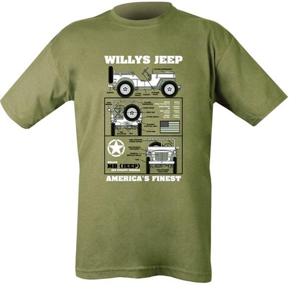 Willys Jeep mintázatú gyerek póló, oliv