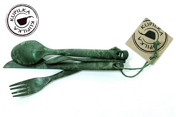 Kupilka négyrészes evőeszköz készlet, zöld, 024700