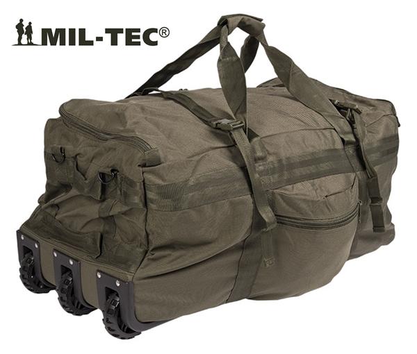 Gurulós katonai utazótáska és hátizsák egyben, oliv, 13854001