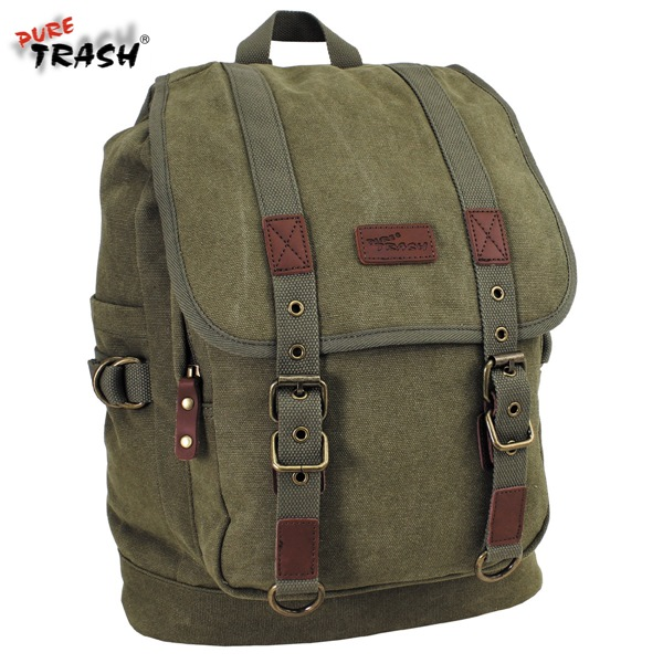 Pure Trash pamut vászon hátizsák, oliv, 30041B