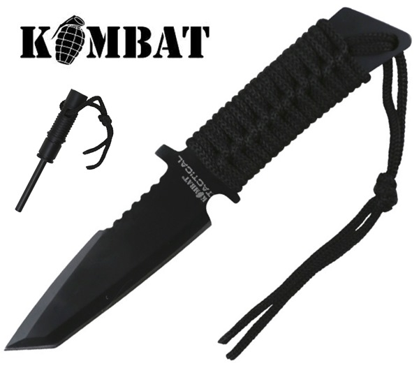 """Kombat """"Intrepid"""" taktikai kés paracord markolattal és tűzgyújtóval"""