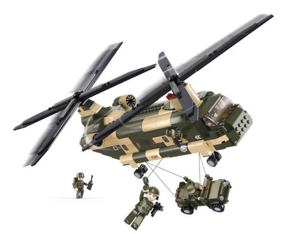 Sluban CH–47 Chinook szállítóhelikopter építőjáték, B0508