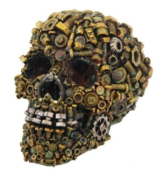 Steampunk koponya rozsdás csavarokkal, 766-7109