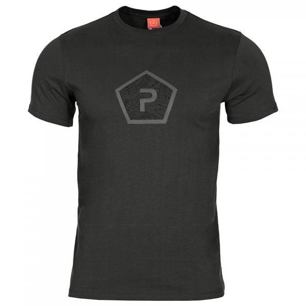 Pentagon Shape pamut póló, fekete, K09005