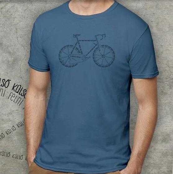 Férfi póló bicikli motívummal, indigókék