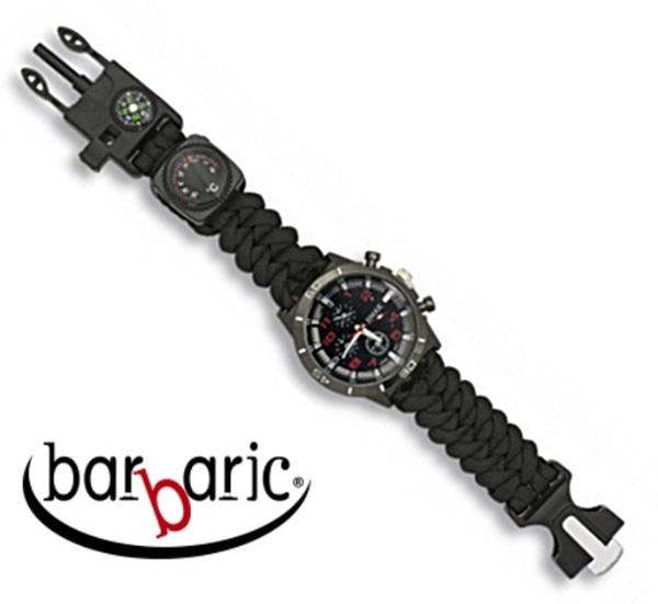 Barbaric taktikai karóra paracord szíjjal, fekete, 33879-NE