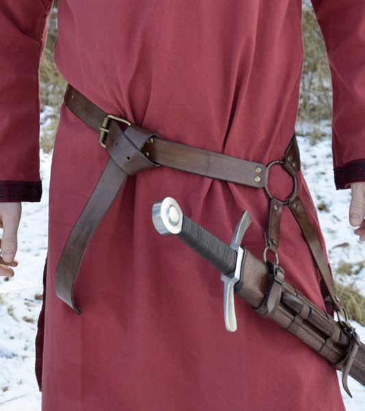 Kardtartó öv középkori kardokhoz, barna, 1616433001