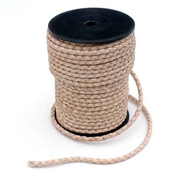 Bőr szíj, fonott, 4 mm, natúr, 1066