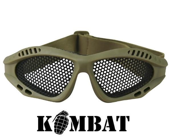 Kombat airsoft szemüveg, rácsos, coyote