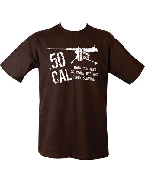 50 caliber feliratú férfi póló, fekete