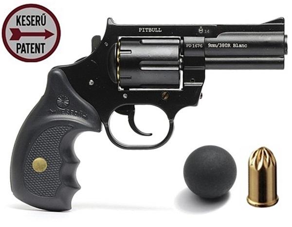 Keserű Pitbull gumilövedékes revolver, acél, 12 mm-es