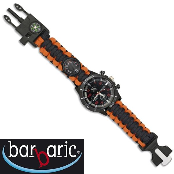 Barbaric taktikai karóra paracord szíjjal, narancssárga-fekete, 33879-NA