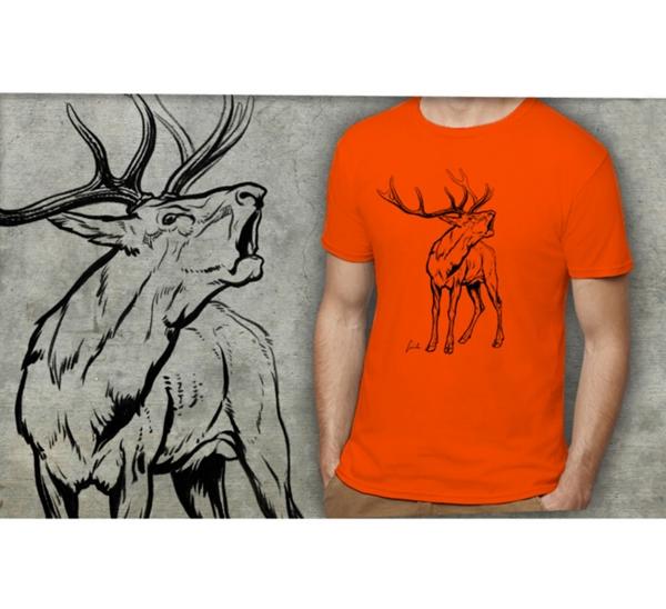 """Férfi póló """"bőgő bika"""" motívummal, narancssárga"""