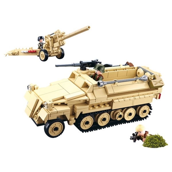 da39fd41c011 Sluban német páncélozott csapatszállító és tüzérségi löveg építőjáték, B0695