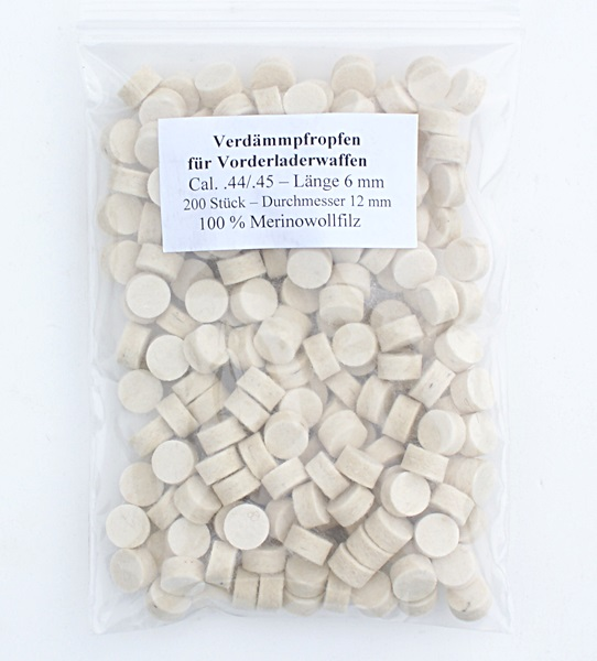 Filc korong, cal.44/45, 6 mm-es, 200 db
