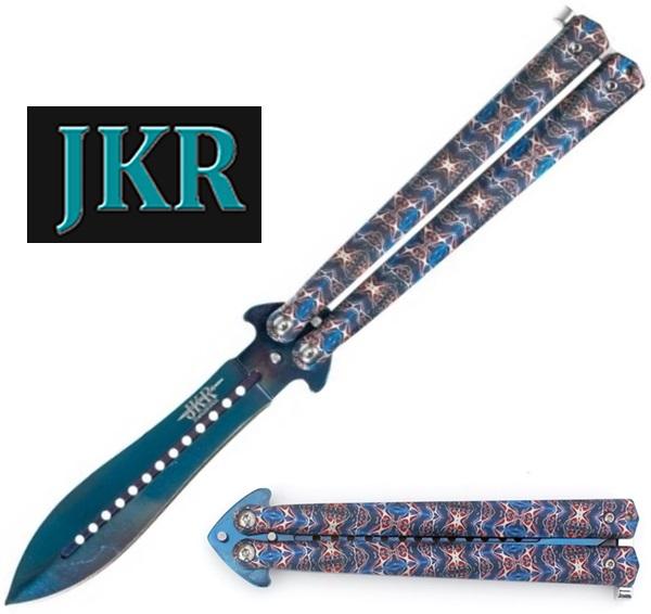 JKR Blue pillangókés mintás markolattal, JKR-643