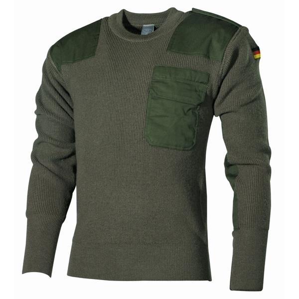 BW gyapjú pulóver zsebbel, olív, 05021B
