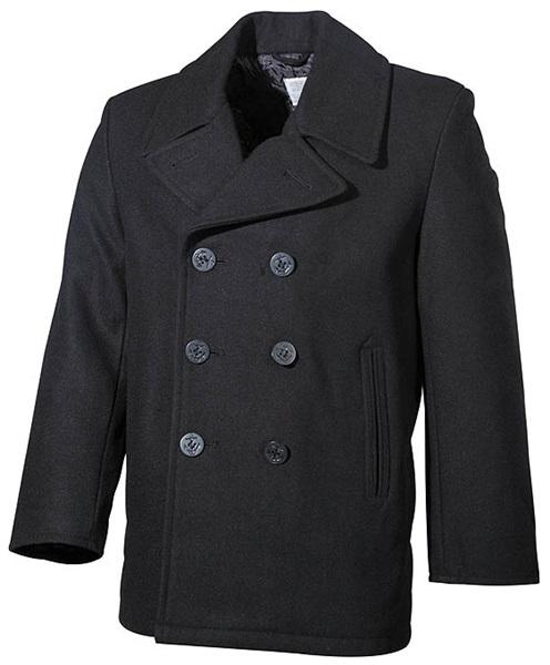 """Tengerész gyapjú kabát """"Pea Coat"""", fekete, 09015A"""