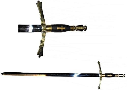 Német lovagrend kardja, edzett pengével
